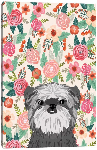 Affenpinscher Floral Canvas Art Print