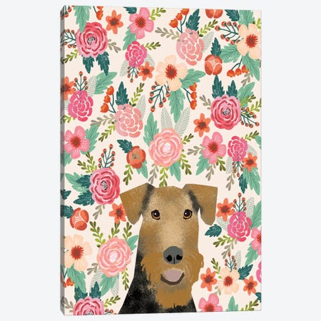 Airedale Terrier Floral Canvas Print #PET71} by Pet Friendly Canvas Wall Art
