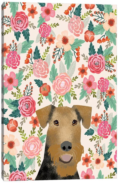 Airedale Terrier Floral Canvas Art Print