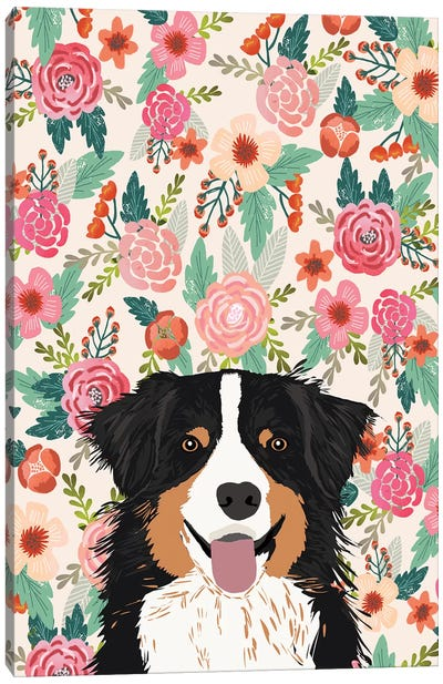 Australian Shepherd Black And Tan Floral Canvas Art Print