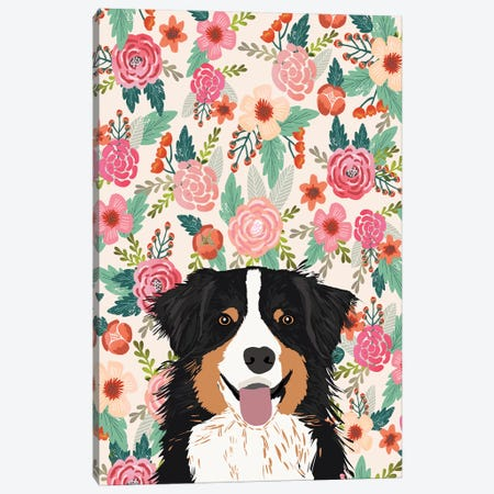 Australian Shepherd Black And Tan Floral Canvas Print #PET72} by Pet Friendly Canvas Artwork