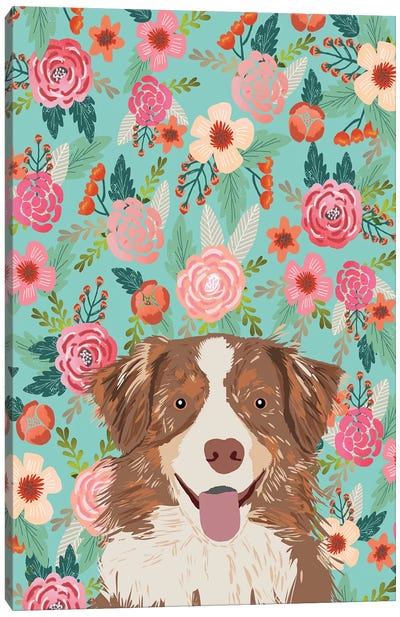 Australian Shepherd Red Merle Floral Canvas Art Print
