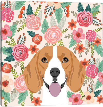 Beagle Floral Canvas Art Print