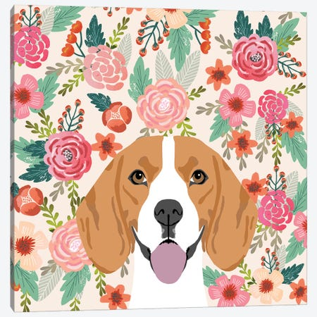 Beagle Floral Canvas Print #PET76} by Pet Friendly Canvas Art Print