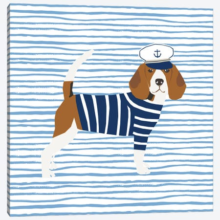 Beagle Nautical Canvas Print #PET77} by Pet Friendly Canvas Art Print