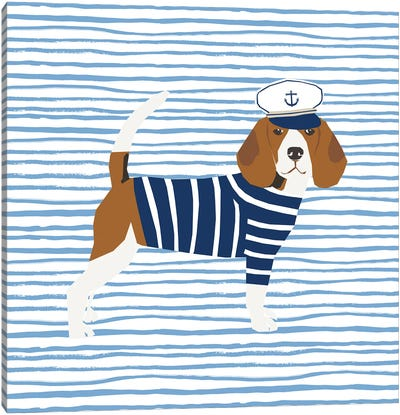 Beagle Nautical Canvas Art Print