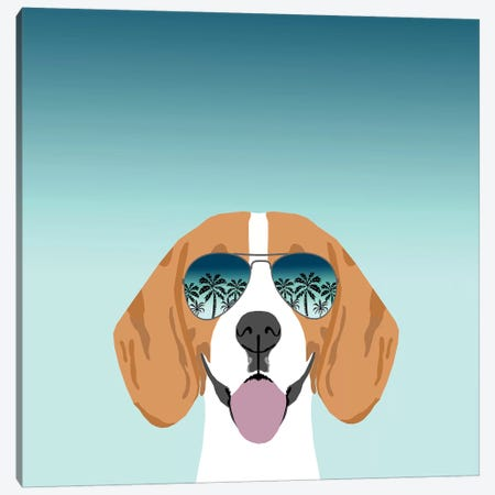 Beagle Summer Canvas Print #PET78} by Pet Friendly Canvas Wall Art