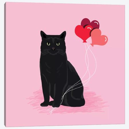Black Cat Love Balloons Canvas Print #PET79} by Pet Friendly Canvas Art