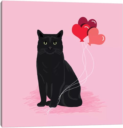 Black Cat Love Balloons Canvas Art Print