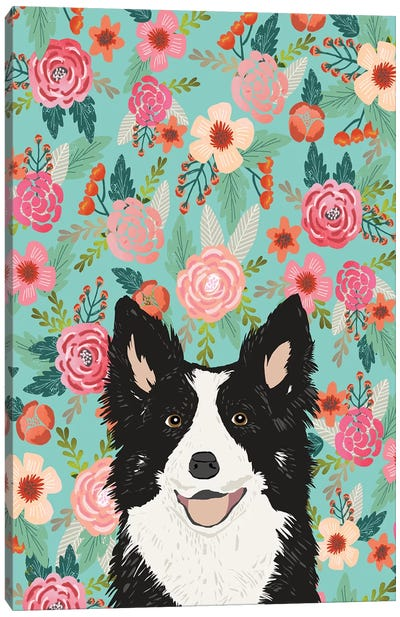 Border Collie Black Floral Canvas Art Print