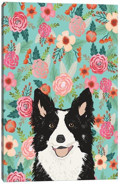 Border Collie Black Floral Canvas Art Print