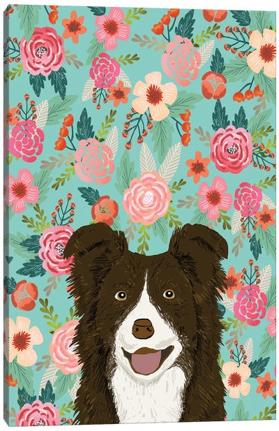 Border Collie Brown Floral Canvas Art Print