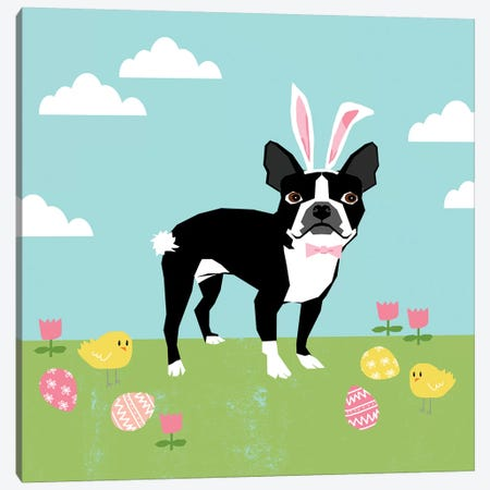 Boston Terrier Easter Canvas Print #PET82} by Pet Friendly Canvas Print