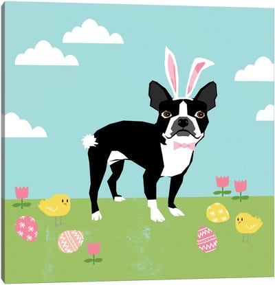 Boston Terrier Easter Canvas Art Print