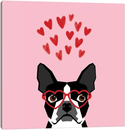 Boston Terrier Love  Glasses Canvas Art Print