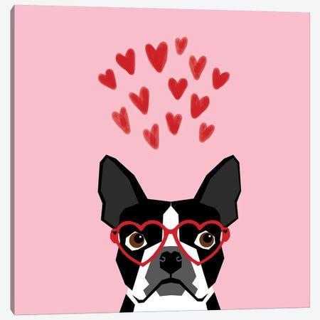 Boston Terrier Love  Glasses Canvas Print #PET83} by Pet Friendly Canvas Art Print