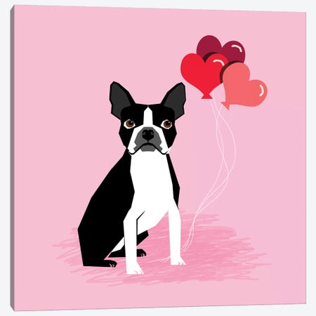 Boston Terrier Love Balloons Canvas Print #PET84} by Pet Friendly Canvas Art