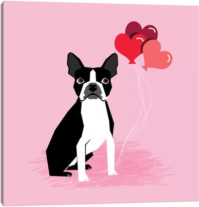 Boston Terrier Love Balloons Canvas Art Print
