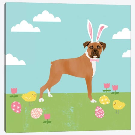 Boxer Easter Canvas Print #PET85} by Pet Friendly Canvas Art