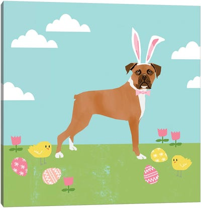 Boxer Easter Canvas Art Print