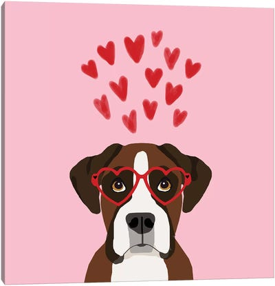Boxer Love  Glasses Canvas Art Print