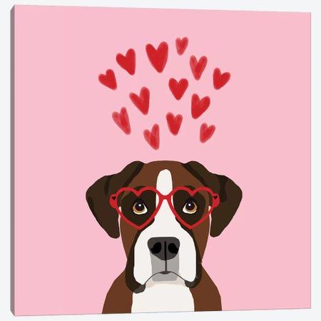Boxer Love  Glasses Canvas Print #PET86} by Pet Friendly Canvas Artwork