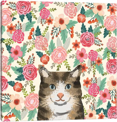 Brown Tabby Cat Floral Canvas Art Print