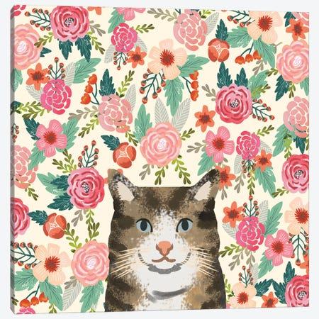 Brown Tabby Cat Floral Canvas Print #PET87} by Pet Friendly Canvas Art