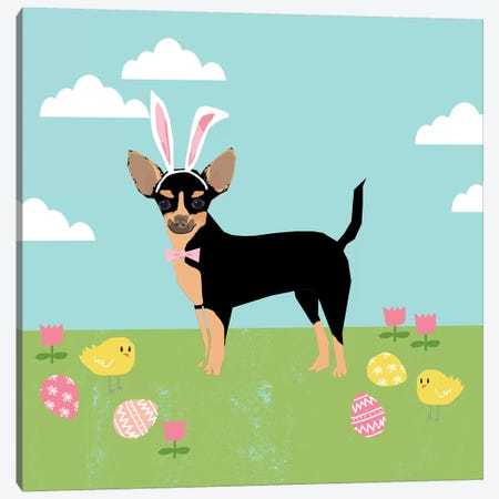 Chihuahua Black And Tan 3-Piece Canvas #PET88} by Pet Friendly Canvas Art Print
