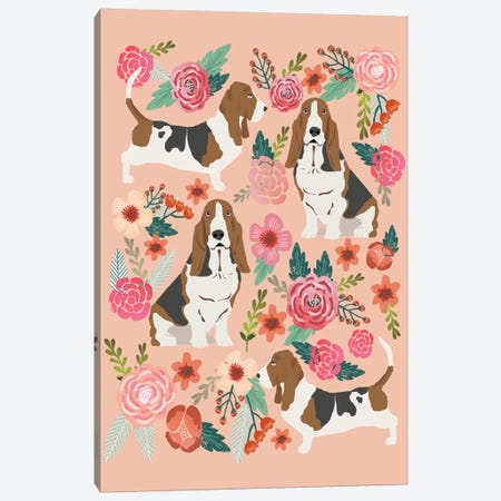 Basset Hound Floral Collage Canvas Print #PET8} by Pet Friendly Canvas Art