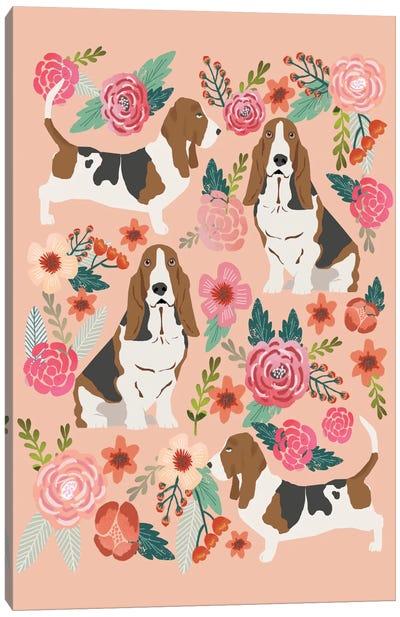Basset Hound Floral Collage Canvas Print #PET8