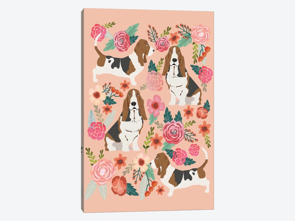 Basset Hound Floral Collage by Pet Friendly 1-piece Canvas Art Print
