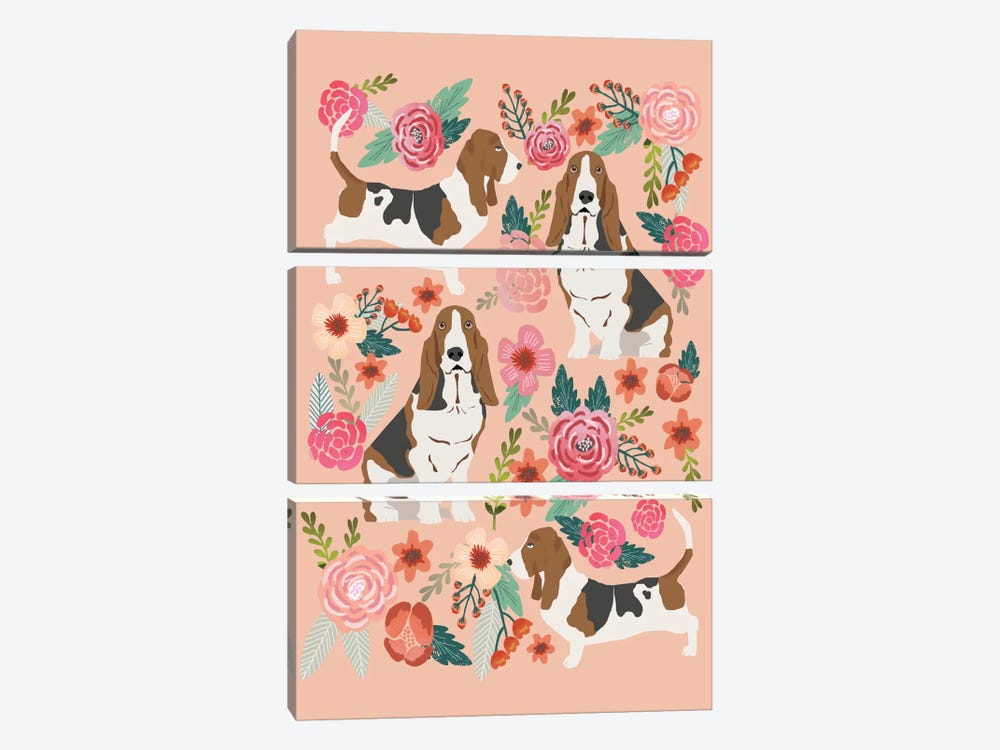 Basset Hound Floral Collage by Pet Friendly 3-piece Canvas Art Print