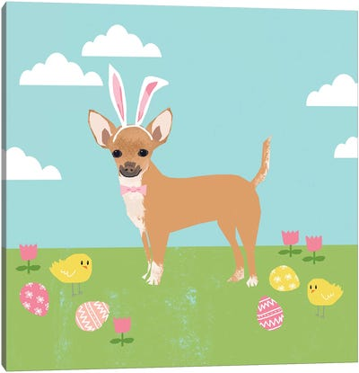 Chihuahua Easter Tan Canvas Art Print