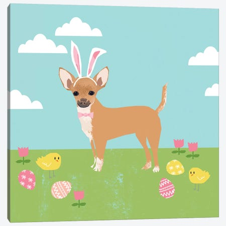 Chihuahua Easter Tan Canvas Print #PET91} by Pet Friendly Canvas Wall Art