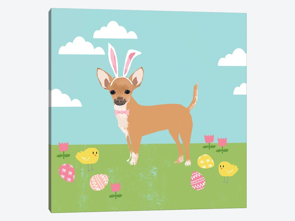 Chihuahua Easter Tan by Pet Friendly 1-piece Canvas Wall Art