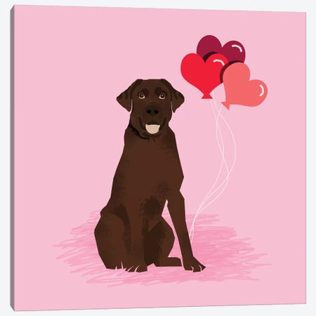 Chocolate Lab Love Balloons Canvas Print #PET92} by Pet Friendly Canvas Art