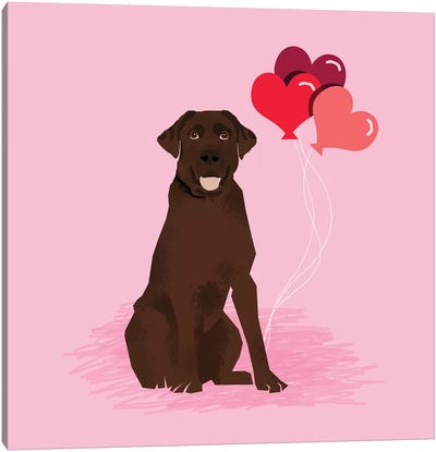 Chocolate Lab Love Balloons Canvas Art Print