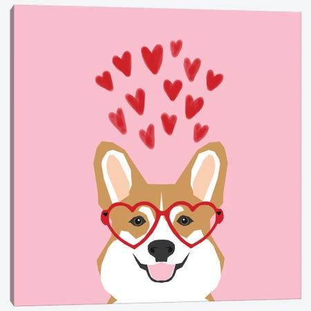 Corgi Love Glasses   Canvas Print #PET93} by Pet Friendly Canvas Art