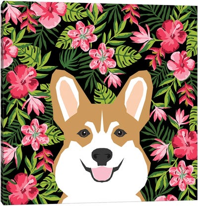 Corgi Hawaiian Canvas Art Print