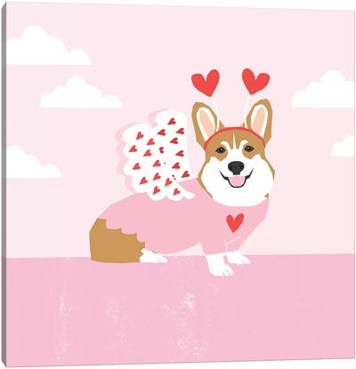 Corgi Love Bug Canvas Art Print