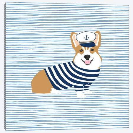 Corgi Nautical Canvas Print #PET96} by Pet Friendly Canvas Art Print