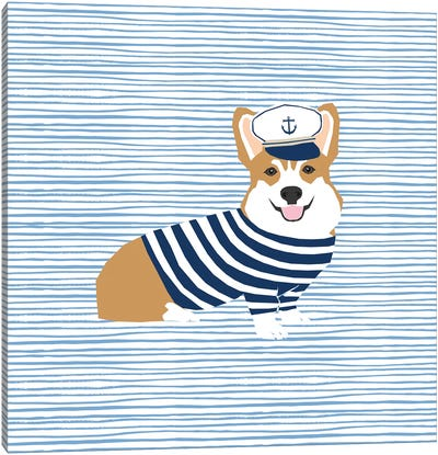 Corgi Nautical Canvas Art Print