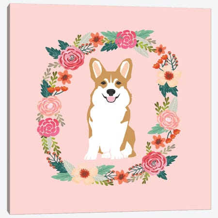 Corgi Tan Wreath  Canvas Print #PET97} by Pet Friendly Canvas Print