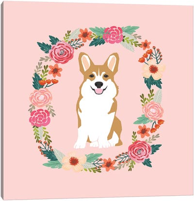 Corgi Tan Wreath  Canvas Art Print
