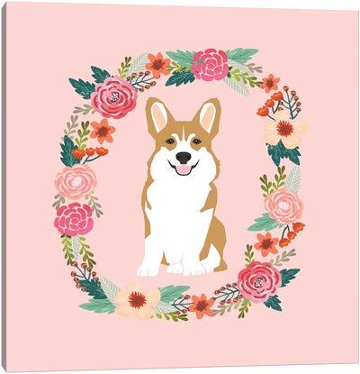Corgi Tan Wreath  Canvas Art Print