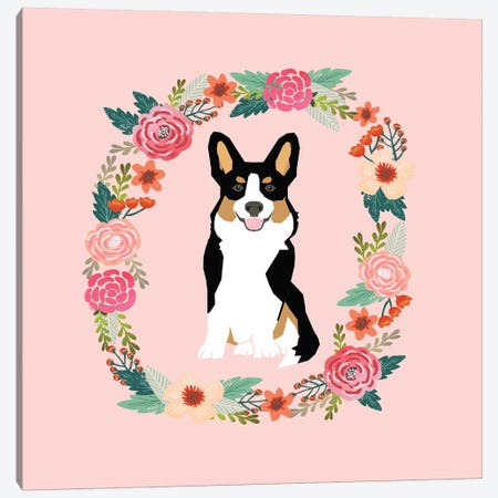 Corgi Tricolored Wreath  Canvas Print #PET98} by Pet Friendly Canvas Wall Art