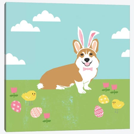 Corgi Tan Easter Canvas Print #PET99} by Pet Friendly Canvas Artwork
