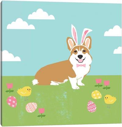 Corgi Tan Easter Canvas Art Print