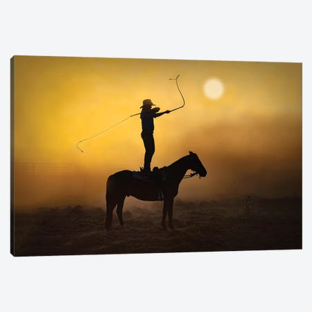 Whip Cracking Jillaroo Canvas Print #PEW144} by Peter Walton Canvas Wall Art